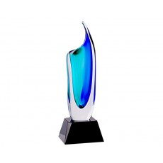 57. Coloured Glass Blue/Green Vase on Black Crystal Base