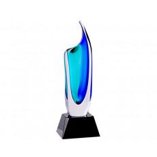 57. Coloured Glass Blue/Green Vase on Black Crystal Base