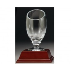 02. Carpathia Medium Glass Trophy Cup, on Wooden Base