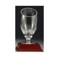 Carpathia Glass Trophy Cup, on Wooden Base