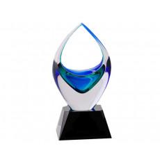 59. Coloured Glass Blue/Green Vase on Black Crystal Base