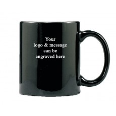 03. Black Ceramic Coffee Mug, Laserable