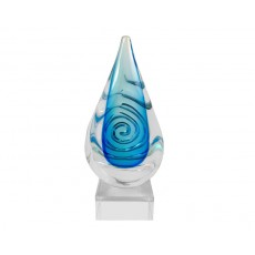 12. Coloured Glass 'Blue Spiral' Teardrop Award