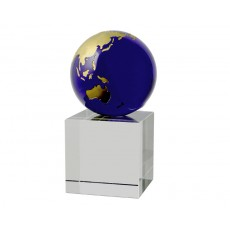 A121. Blue & Gold World Globe, Crystal Base