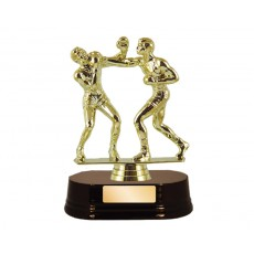 11. Boxing Double Figure, Rosewood Base Trophy