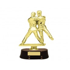 02. Judo Double Male Figure, Rosewood Wooden Base Trophy