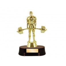 01. Male Weightlifting Figure, Rosewood Wooden Base Trophy
