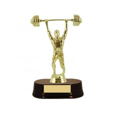 02. Male Weightlifting Figure, Rosewood Wooden Base Trophy