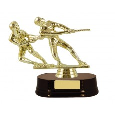01. Tug-O-War Figure, Rosewood Wooden Base Trophy