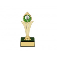 "62. 1"" Gold Holder, Golf Trophy with Green Base"