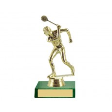 03. Squash Male Figure, Gold Holder, Olympia Green Base