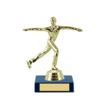 02. Male Ice Skater Figure, Olympia Blue Base Trophy