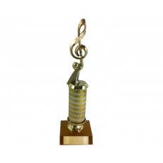 18. Music Figure, Gold/Silver Column, Gold Base