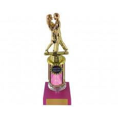 46. Ballroom Dancing Figure, Acrylic Riser & Pink Base