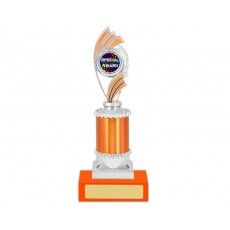 "22. Silver/Orange 1"" Holder, Special Award Button, Mandarin Base"