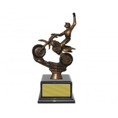 Bronze Motorsport Figure on Piano Finish Black Base