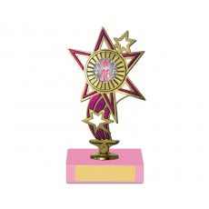 "16. Gold/Pink 1"" Star Holder, Pink Base"