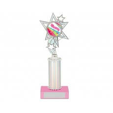 "13. Silver Reflective Holder with 2"" Star Holder, Pink Base"