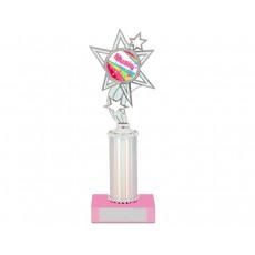 "13. Silver Reflective Holder with 2"" Star Holder, Pink Base"