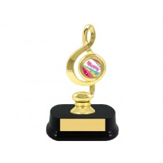 "01. Music Note 1"" Gold Holder, Wooden Base"