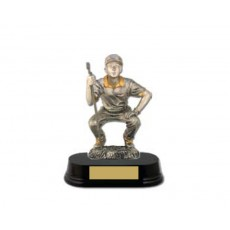 35. Crouching Male Putter, Wooden Base Trophy