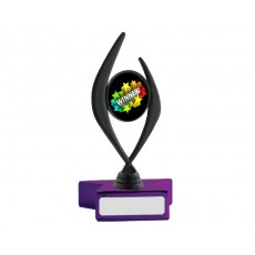 "A107. Black 2"" Holder, Metallic Purple Star Base"