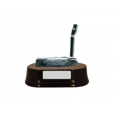 37. Golf Putter, Wooden Base Trophy
