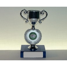 04. Poker Silver Trophy Cup, Electric Blue Base