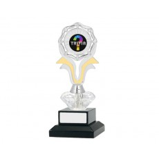 "01. 1"" Trivia Gold/Silver Holder on Clear Diamond, Black Base"