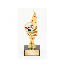 """1"""" Gold with Red Stars Holder on Base"""