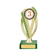 "21. 3rd Place Green Diamonte 2"" Holder, Green Base"