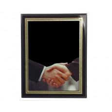 Handshake Brass Plate, Piano Finish Black Plaque