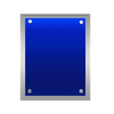 Blue Coloured Glass on Silver Gloss Plaque