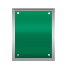Green Coloured Glass on Silver Gloss Plaque
