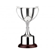 Silver Plated Presentation Trophy Cup, Wooden Base