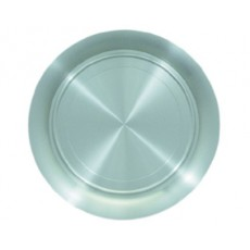 """02. Oriental Pewter Round Tray Plate, 12"""""""