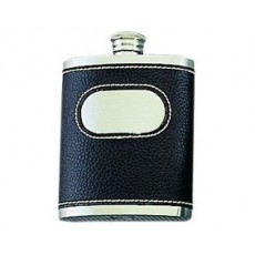 01. Oriental Pewter Hip Flask, Leather Brown
