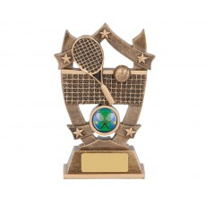 48. Medium Tennis Shield & Stars Resin Trophy