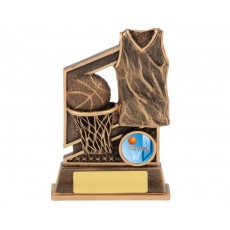 Basketball Ball & Net Resin Trophy