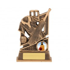 Cricket Bat, Ball & Wickets Resin Trophy