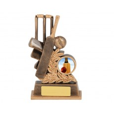 Cricket Bat, Ball & Stumps Resin Trophy