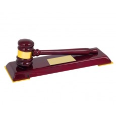 18. Premium High Gloss Wood Gavel on Base Trophy