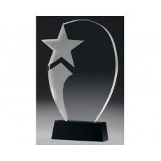 Crystal Clear Recognition Star on Black Crystal Base
