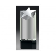 Clear Crystal Star Award on Black Base