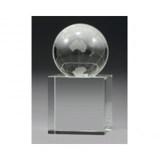 Optical Crystal World Globe on Base