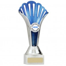 Blue/Silver Fan Plastic Cup on Base