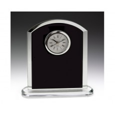 "Clear & Black ""Pax"" Glass Clock"