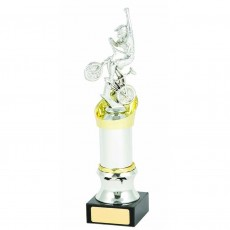 BMX Silver Column on Black Base Trophy