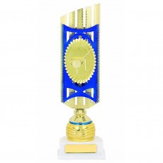 Golf Blue/Gold Holder Trophy on White Base
