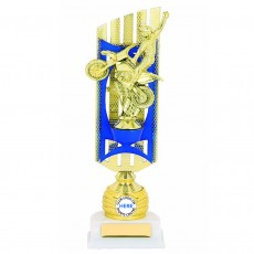 BMX Figurine Blue/Gold Trophy on White Base